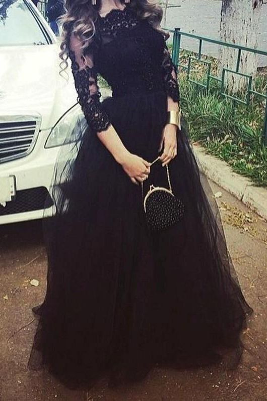 Vintage Black Arabic Prom Pageant Dresses Soop 3/4 Sleeve Applique Lace A Line Party Evening Gowns