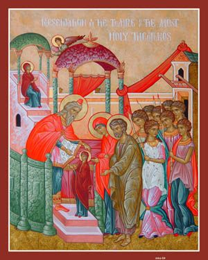 Entrance of the Theotokos in the Temple (Icon) (Handouts)