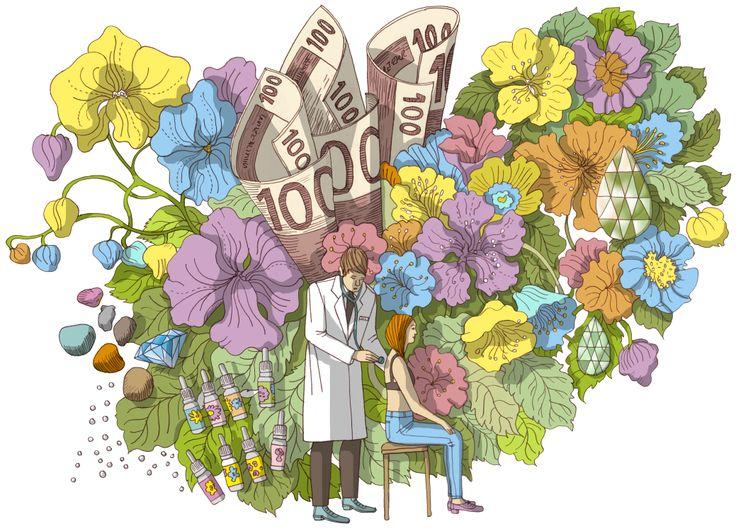 Illustration by Terhi Ekebom for  Kirkko & Kaupunki magazine, 2014