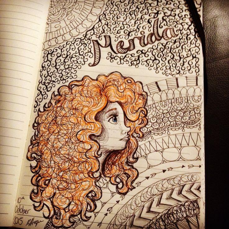 Disney Pixar's Brave Merida drawing with Zentangle background https://m.facebook.com/rebeccart.co.uk