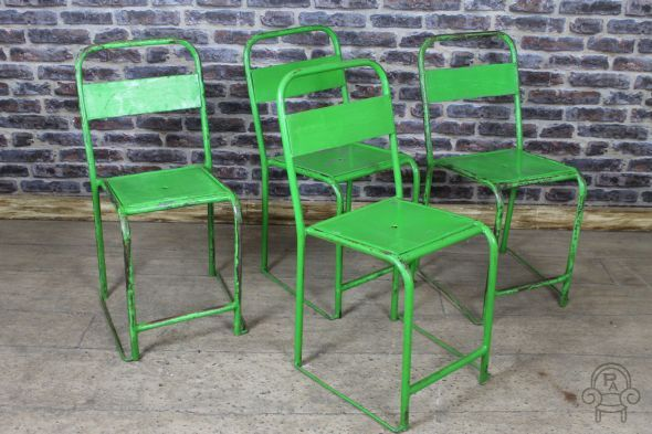 Stacking chairs in a variety of colours original vintage #industrial #stylish #green