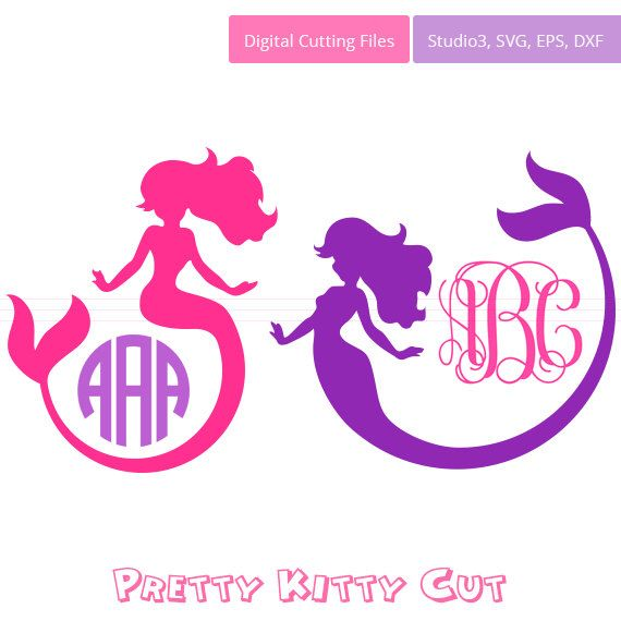 Mermaid SVG Monogram Frames instant download cut file - svg, studio3, dxf, eps - Little Mermaid Cutting Files for Cricut, Silhouette by PrettyKittyCut on Etsy https://www.etsy.com/listing/268718513/mermaid-svg-monogram-frames-instant