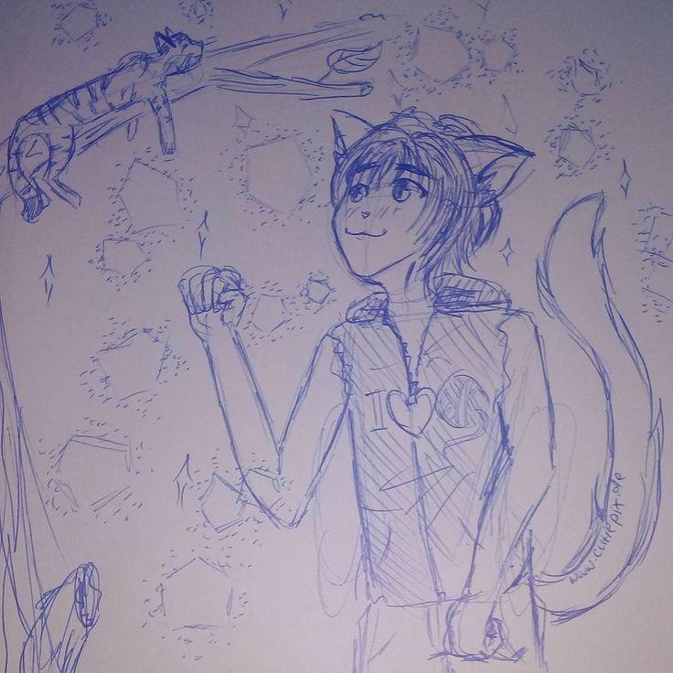 #Catboy  Dass ich mal traue einen #jungen zu zeichnen xD dabei kann ich die nicht so gut zeichnen, naja wenn dann nur als #Kätzchen xD  #anime #manga #zeichnen #zeichnung #boy #cat #katze #kater #sketch #cutiepx #cutiepixdesign  #skizze #аниме #манга #мальчик #кот #кошка #ресунок #kugelschreiber #pen #ohren #ears #catears #ушы #cute #süß