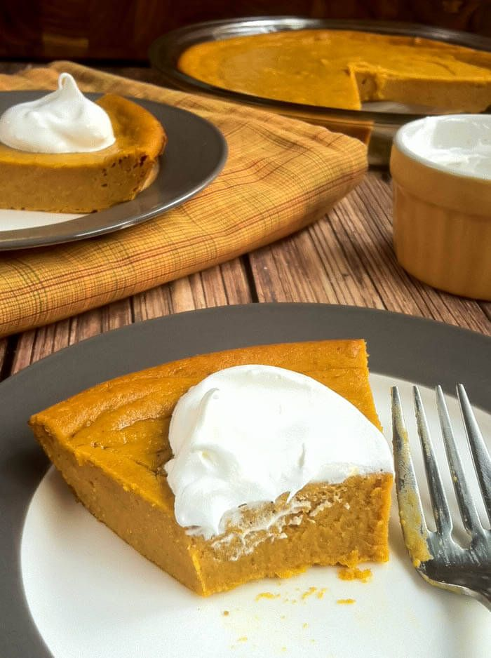 Impossible Pumpkin Pie, for the pastry impaired. Just throw all the ingredients in a blender, pour it into a pie plate and bake! Impossibly easy!