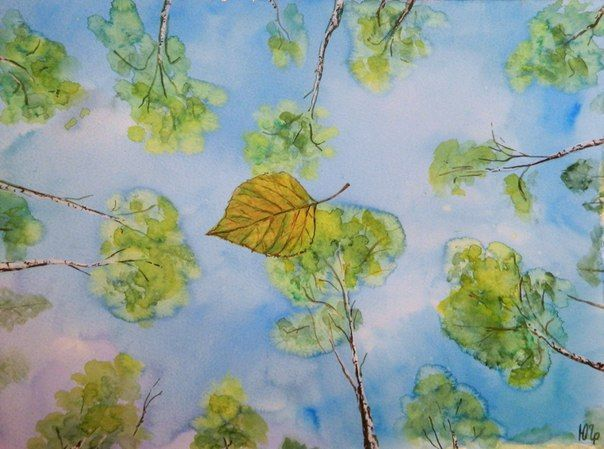a sheet of birch  watercolor, Julia Latte www.delopodushe.org