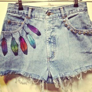 Love the feathers. ---- look like music festival shorts to me! :)