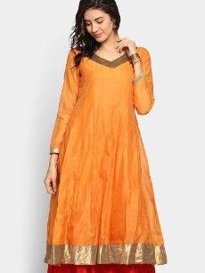 abof Ethnic Orange Anarkali Chanderi Kurta