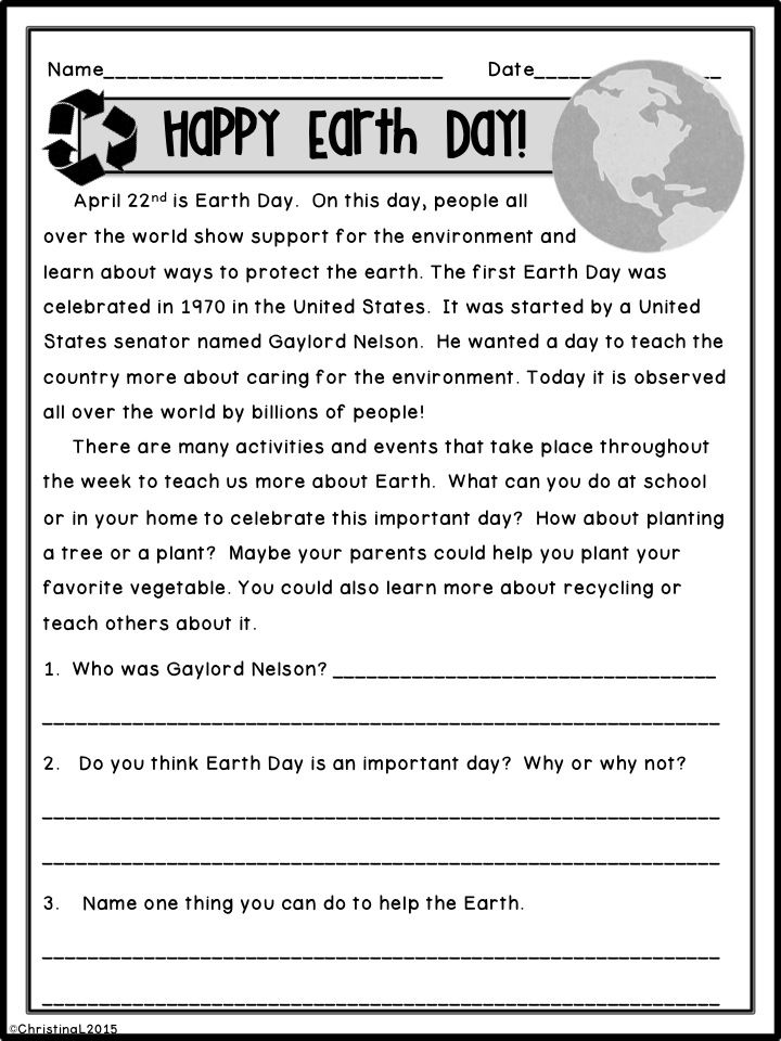 april reading comprehension passages earth day facts and early finishers. Black Bedroom Furniture Sets. Home Design Ideas