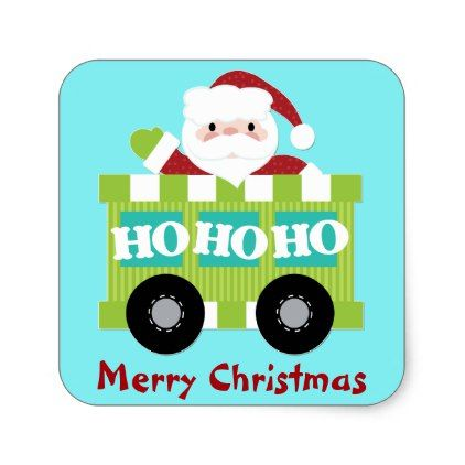 #Santa Claus Train Car Christmas Square Sticker - #giftideas for #kids #babies #children #gifts #giftidea