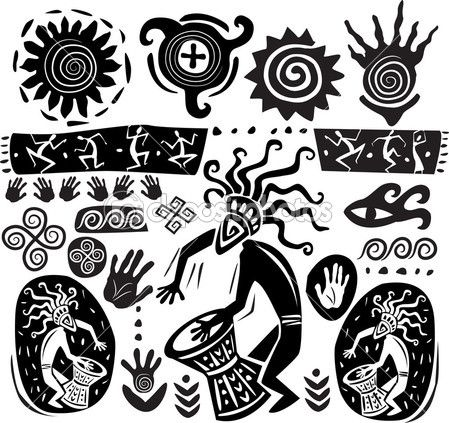 Conjunto de elementos en el estilo del arte primitivo — Vector stock © wikki33 #6338194