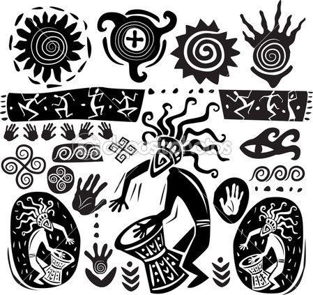 conjunto de elementos en el estilo del arte primitivo — Ilustración de stock #6338194