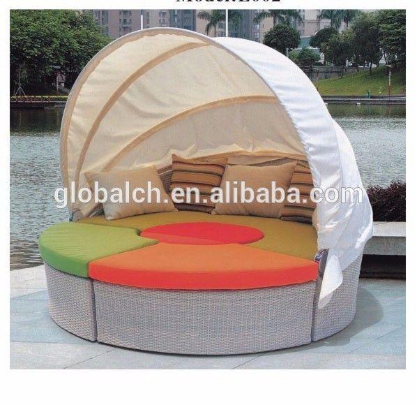 2015 venta caliente outdoor rattan ronda cama solar, gran niza exterior muebles ratan, all weather moderno cama solar