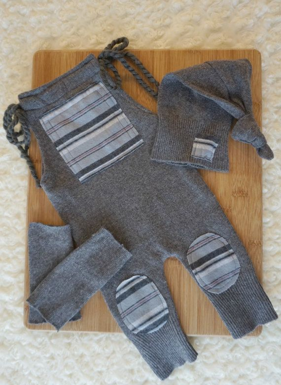Newborn upcycled romper top knot hat & by JazzCraftBoutique