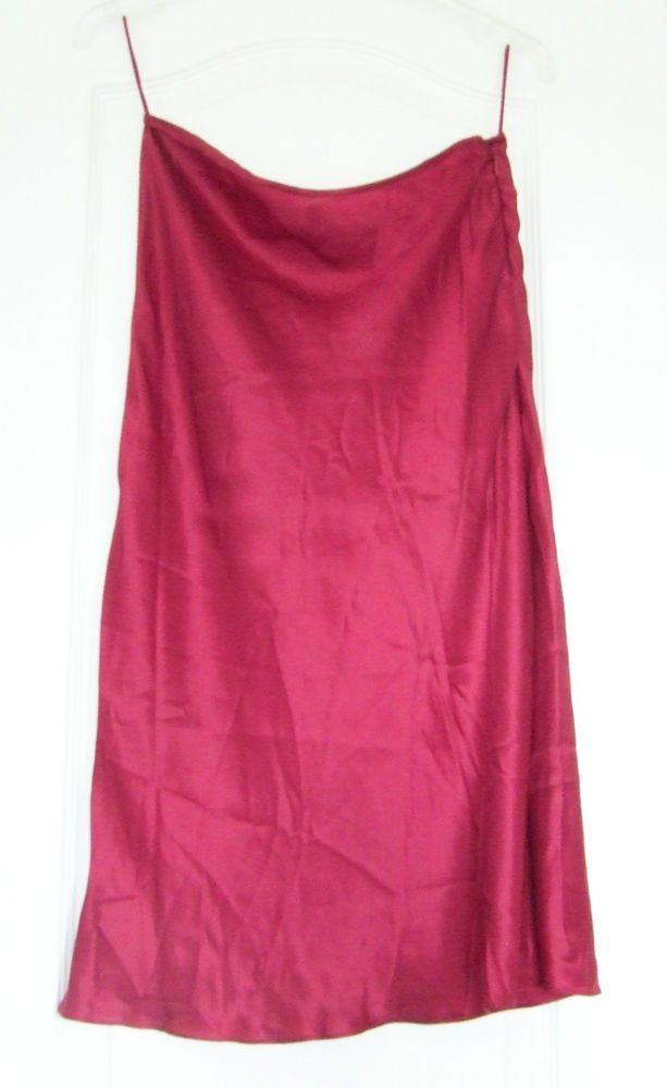 Elspeth Gibson size 10 burgundy maroon silk satin flared knee-length skirt
