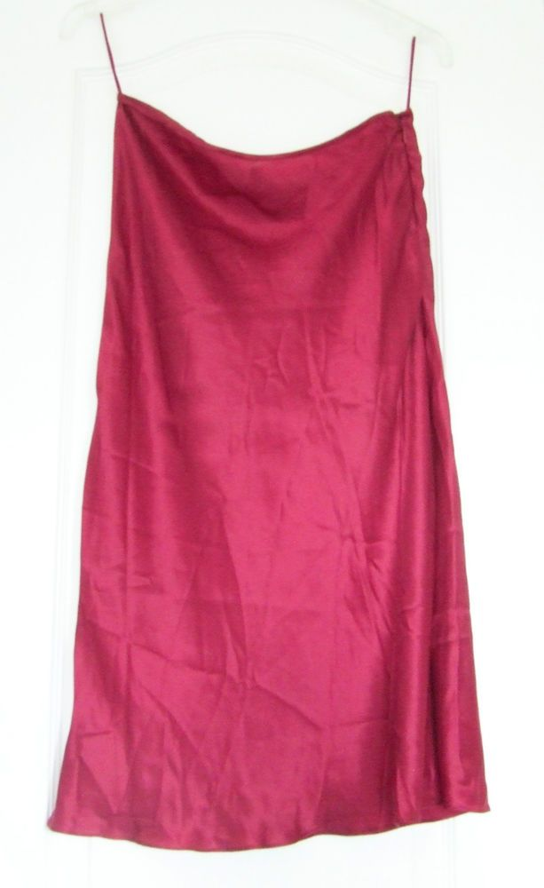 Elspeth Gibson size 10 burgundy maroon silk satin flared knee-length skirt