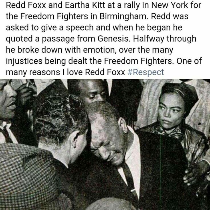 Redd Foxx and Eartha Kitt at a rally in New York for the Freedom Fighters in Birmingham