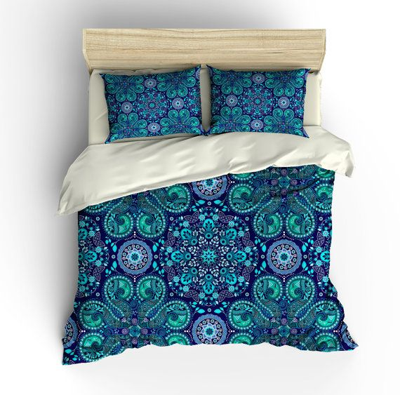 Boho Chic Bedding Duvet Cover Set Purple teal by FolkandFunky