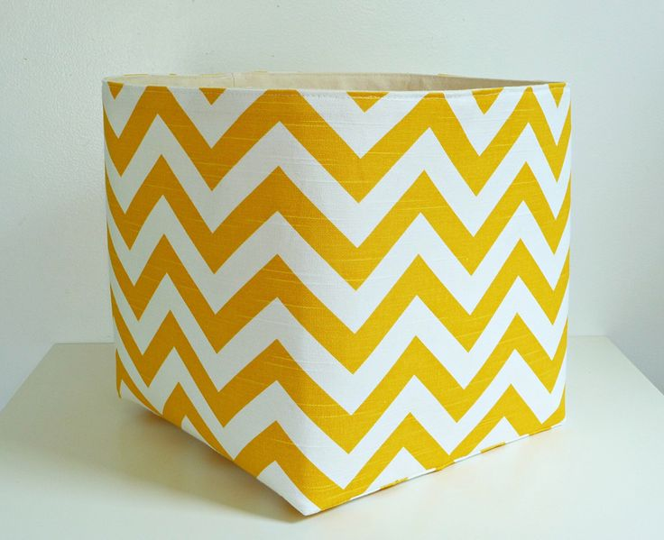 Extra Large Storage Basket Fabric Organizer in Yellow and White Chevron Zig Zag with Canvas liner - Choose Your Size by littlehenstudio on Etsy https://www.etsy.com/listing/189481310/extra-large-storage-basket-fabric