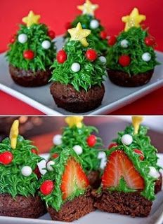 Strawberry Christmas Tree Cakes.