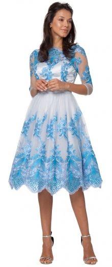 Chi Chi London šaty Liana, modré s rukávkem