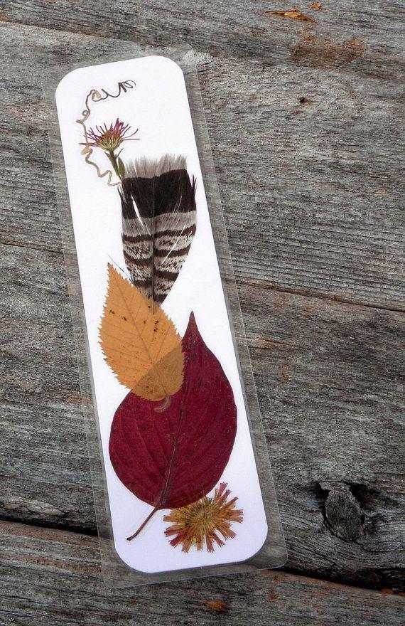 PRESSED BOTANICAL BOOKMARK  Real Fall Foliage by MyHumbleJumble, $5.00