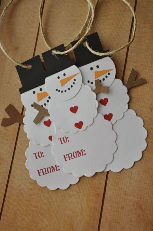 weihnachtsbastelleien weihnachtskarten basteln schneemännchen