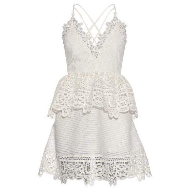 Self-portrait Lace-peplum open-back dress ($375) ❤ liked on Polyvore featuring dresses, white, white lace cocktail dress, white open back dress, open back lace dress, peplum dress and lacy dress