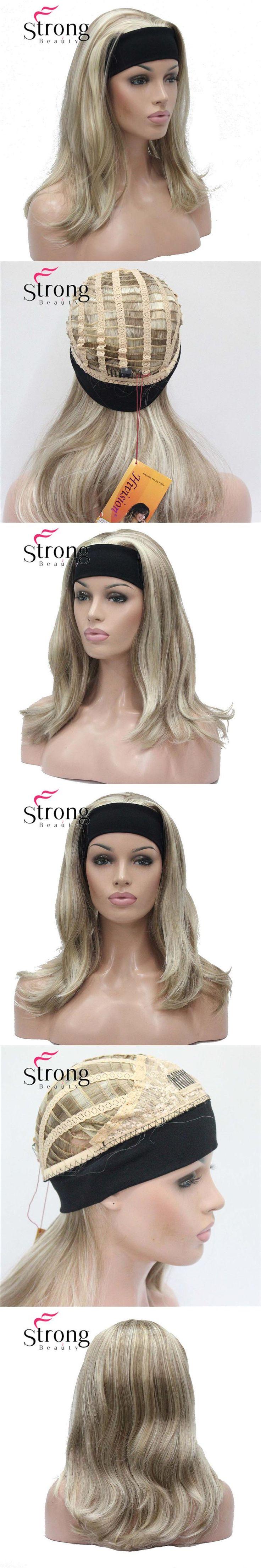 StrongBeauty Medium Blonde Highlights Natural Slight Waves Heat Ok Synthetic HEADBAND Wig