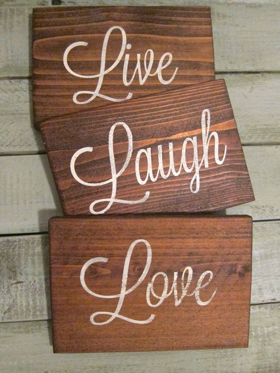 Live laugh love rustic wood wall decor by rusticpost on for Live laugh love wall art