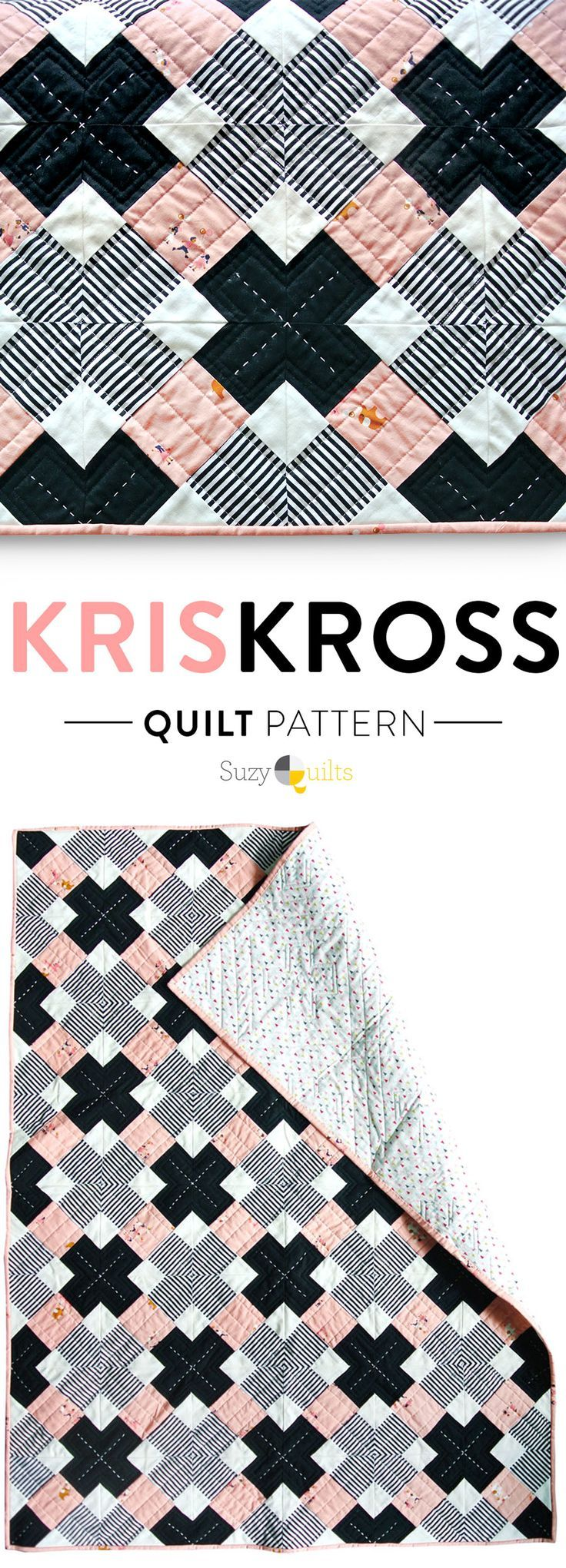 A simple, modern quilt pattern that looks complex. Check out the YouTube video tutorial with instructions!