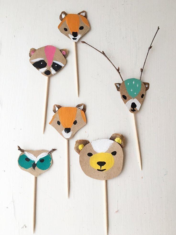 pinchitos de animales pintados en papel kraft