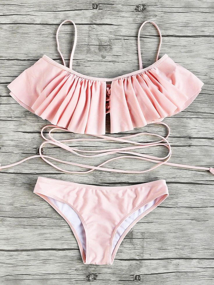 Shop Flounce Detail Strappy Bikini Set online. SheIn offers Flounce Detail Strappy Bikini Set & more to fit your fashionable needs. http://amzn.to/2tufXTf