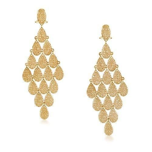 Bling Jewelry Gold Teardrop Micro Pave CZ Chandelier Earrings Omega Back