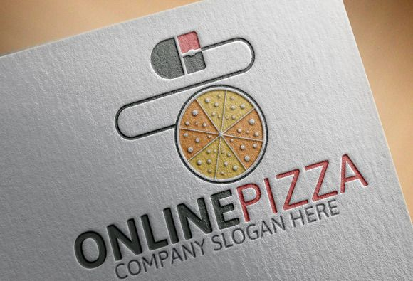Online Pizza Logo by josuf on Creative Market
