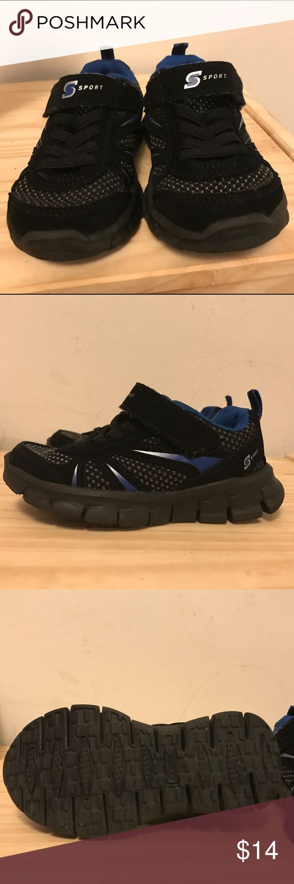 Big boy S Sport designed by Skechers NWOT. I bought these for my son and he hit a growth spurt so he didn't get to wear them more than once. They are practically new. Velcro tie and lightweight black sneakers with blue detail. Skechers Shoes Sneakers