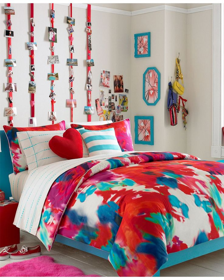 Bright Colorful Tween Bedroom: Teenage Girl Bedroom Ideas With Vogue Bedding Bedding