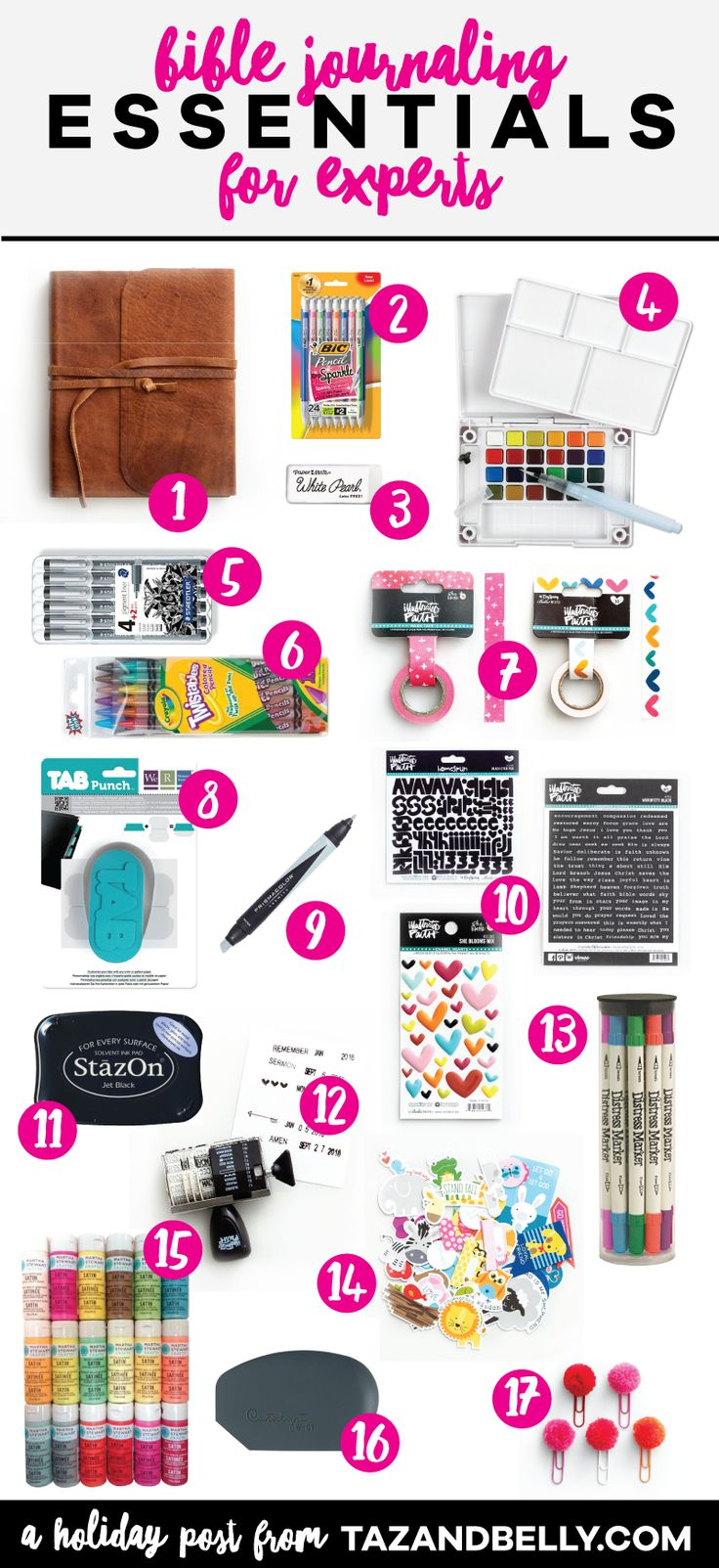 Try this Bible Journaling Holiday Gift Guide for Experts if you're looking to upgrade your current stash. Maybe you're shopping for someone who wants to leave no supply behind. This gift guide includes all of my favorite journaling supplies, along with a few splurges and upgrades. tazandbelly.com