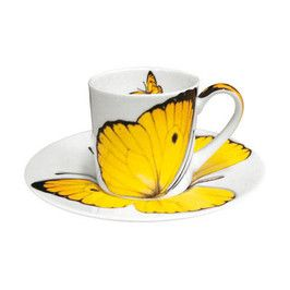 Yellow butterfly tea cup.