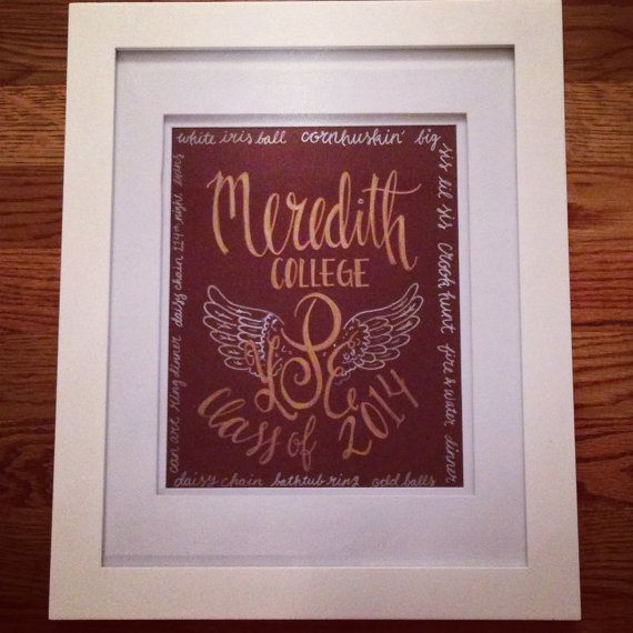 Meredith College / Angel Wings / Monogram / by GreywindsCollection, $25.00