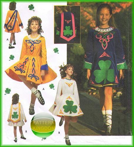 Simplicity 9131 Girls Irish Solo Dance Dress Patterns
