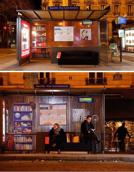 ikea 39 s transformed bus stop in paris w pinterest waiting area places and buses. Black Bedroom Furniture Sets. Home Design Ideas