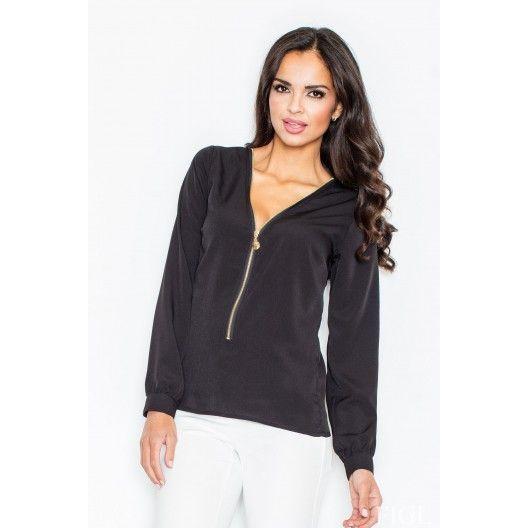 Spoločenská dámska blúzka čiernej farby so zipsom - fashionday.eu