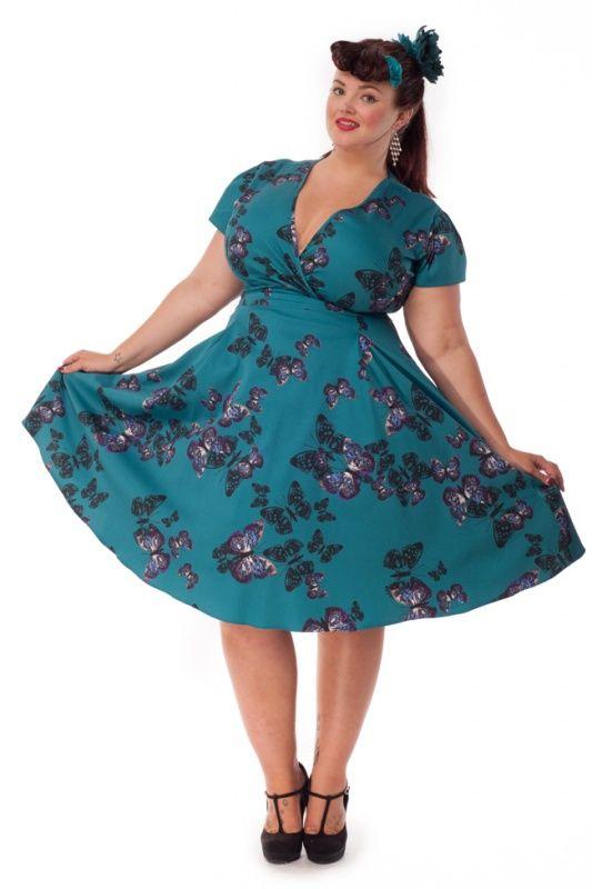 Lady V Teal Green Butterfly Estella Dress | Jurken | Miss Vintage | Retro, vintage geïnspireerde dames kleding