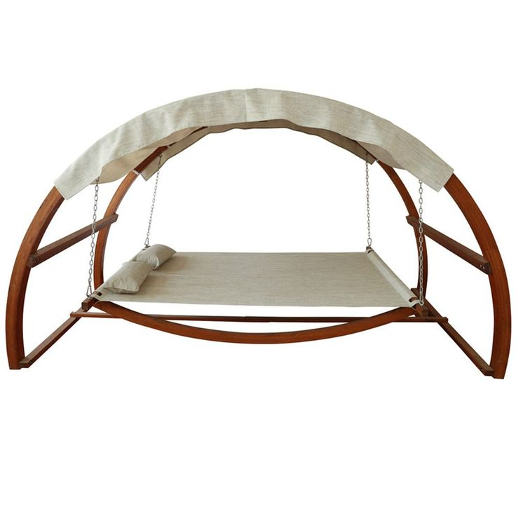 Experience a new kind of relaxation in your backyard with this canopy swing bed. The arched canopy keeps rain and sun off you during an afternoon nap, while the gentle swing mechanism rocks you off to