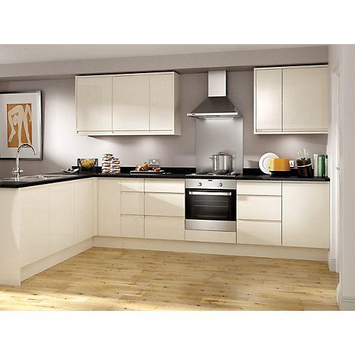 Wickes madison cream corner base unit 1000mm kitchen for Cream kitchen base units