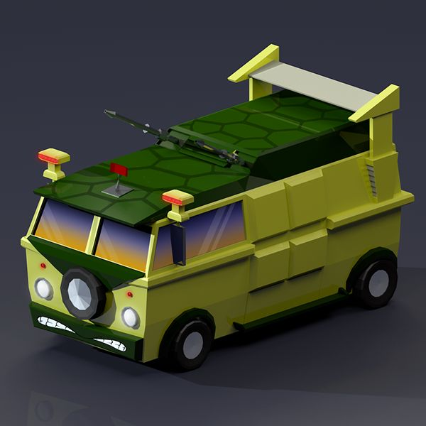Low Poly Turtle Van render