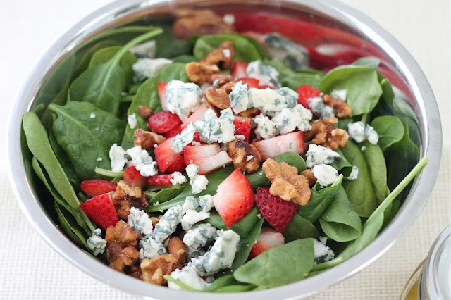 Summer Salad:  Fresh spinach, fresh blue cheese, candied walnuts and strawberries