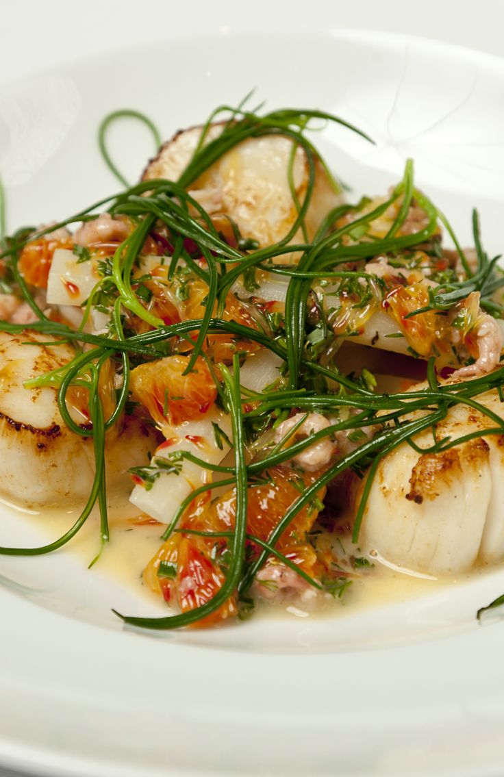 Seared scallops with salsify, blood orange and brown shrimp - Richard Corrigan - The tang of the blood orange brilliantly offsets the seafood in this dish.