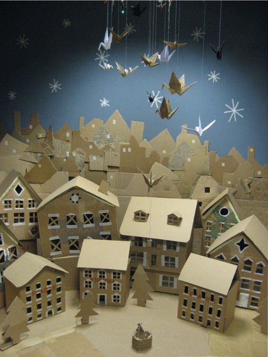 Village of (not so) little houses, natural cardboard
