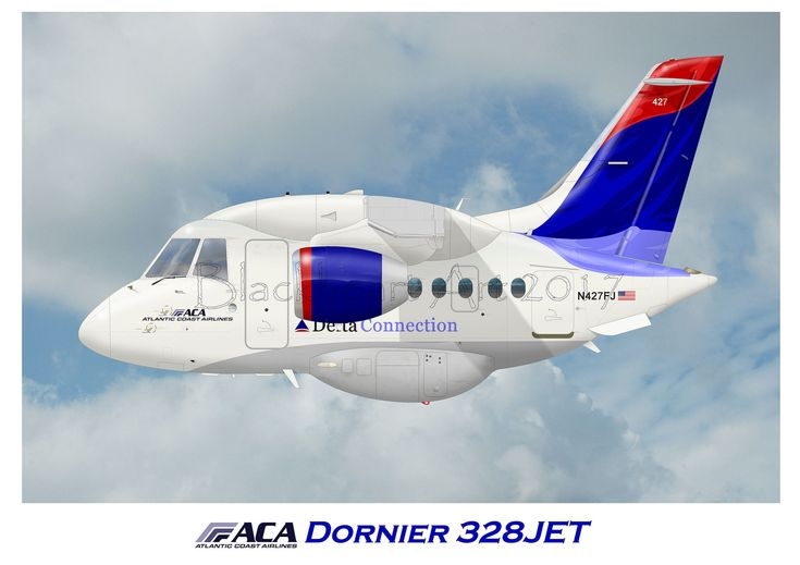 https://flic.kr/p/Zg1Ew4 | Dorneir 328Jet Atlantic Coast Airlines | Contracted by Delta Connection, here is a Dornier 328jet Operated by Atlantic Coast Airlines.